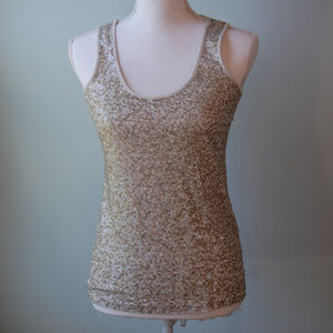 J Crew Silver Toned Sequined Tank Top Size XS